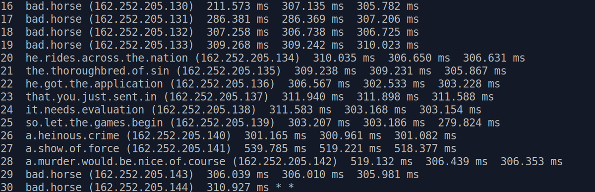 traceroute m 50 bad horse sysadmin