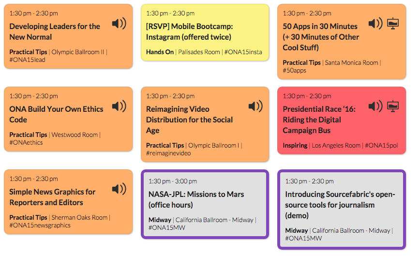 Follow live blogs and video from #ONA15 by clicking through on the schedule page. http://t.co/6i4uqweguq http://t.co/qYzfpxgGYZ