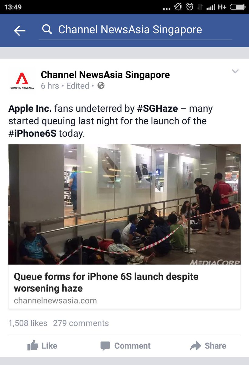 Our fellow countrymen. Kaopeh kaobu about #SGhaze, don't wanna go to school/work. But can queue for iPhone 6s.   OK. http://t.co/DUGku2TLXr