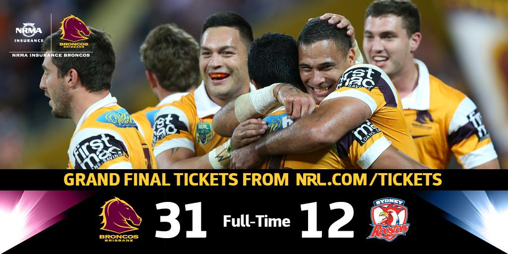 #NRLBroncosRoosters Fulltime and we are headed to the #NRLGF #Bronxnation #YouBeauty http://t.co/FqhncYNpvV