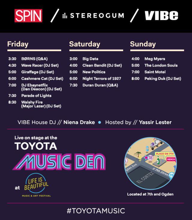 I'm #Djing in #VEGAS @lifeisbeautiful fest 4 @SPINmagazine @VibeMagazine at the #ToyotaMusic Den TODAY, Sat + Sun! http://t.co/AjP4PRhOrC
