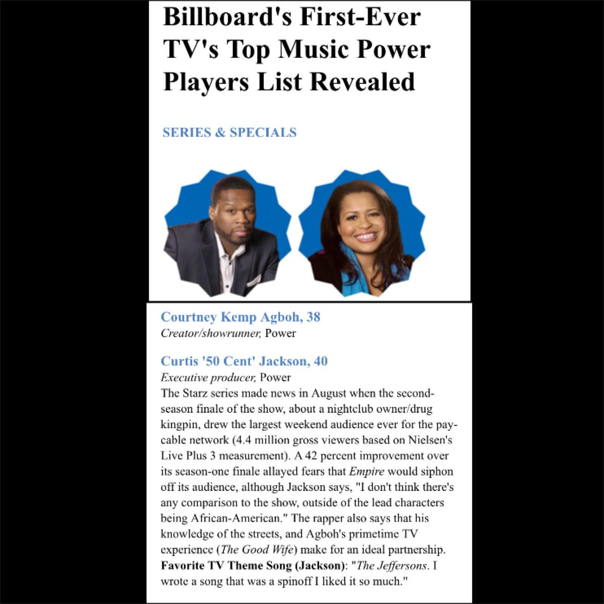 BILLBOARD's FIRST-EVER TV's TOP MUSIC POWER PLAYER LIST REVEALED  http://t.co/eyUrpQ3zKQ #EFFENVODKA http://t.co/Y4ONbUZ9UV