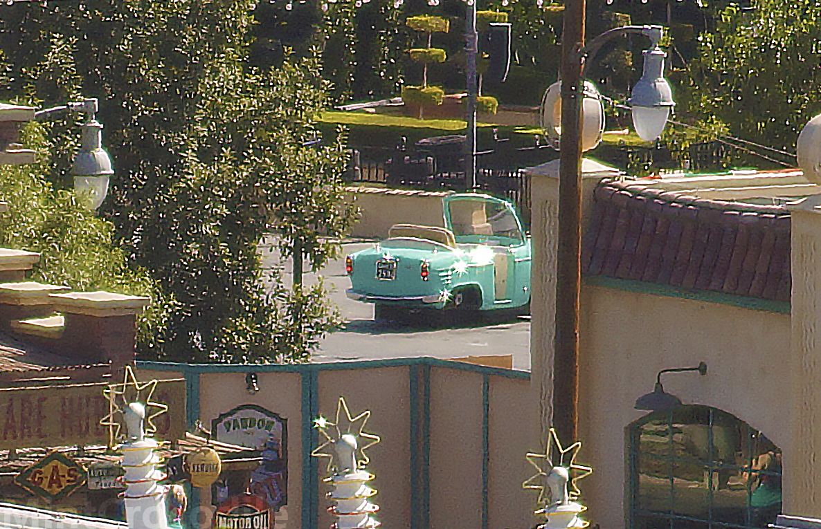 Turquoise colored car testing at Luigi's Rollickin' Roadsters #DisneyCaliforniaAdventure #CarsLand http://t.co/1yp2d1VfFF
