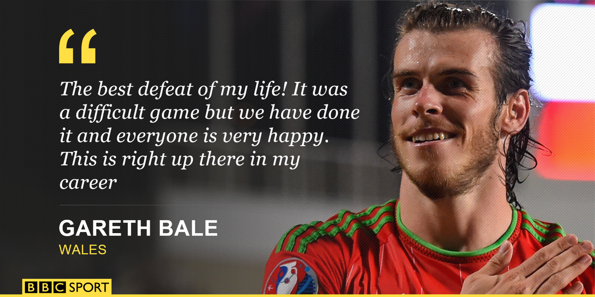 The man, the icon, the legend!  Wales star Gareth Bale on qualifying for #Euro2016 http://t.co/4MfuBKHcAW http://t.co/AV4sm3TZ7N
