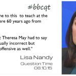 As the daughter of an immigrant @lisanandy objected to what Theresa May said this week: #bbcqt http://t.co/h4NEt5HltV