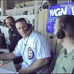 The @WWE United States Champion @JohnCena in the announce booth with @Cubs @LenKasper ~ #Chicago #Cubs #WWE http://t.co/c5mDkek1wO