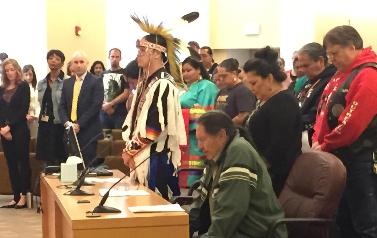 """""""Great Spirit watch over us,"""" elder prays as board replaces Columbus Day with Indigenous Peoples Day. http://t.co/QtLoJMms3A"""