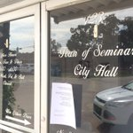 Doors are locked at city hall and a note is posted on the door. http://t.co/eZRDf9iyrb