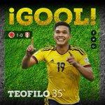 ¡GOOOOOOOOOOOOOOL de Colombia! Teo inaugura el marcador para el partido ante Perú. http://t.co/oZJDhRD9li