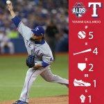 Gallardo goes 5 innings with 79 pitches, 45 for strikes. #LetsGoRangers #NeverEverQuit http://t.co/tMSgI43KDO