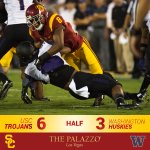 HALFTIME: USC 6, UW 3. The Trojans take the lead on a 21-yard FG in the final seconds of the first half. #FightOn http://t.co/3OBvPvvOxG