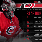 Heres your starting lineup for the #Canes tonight against the #Preds. #Redvolution #NHLFaceOff http://t.co/9QDPbpwGrK