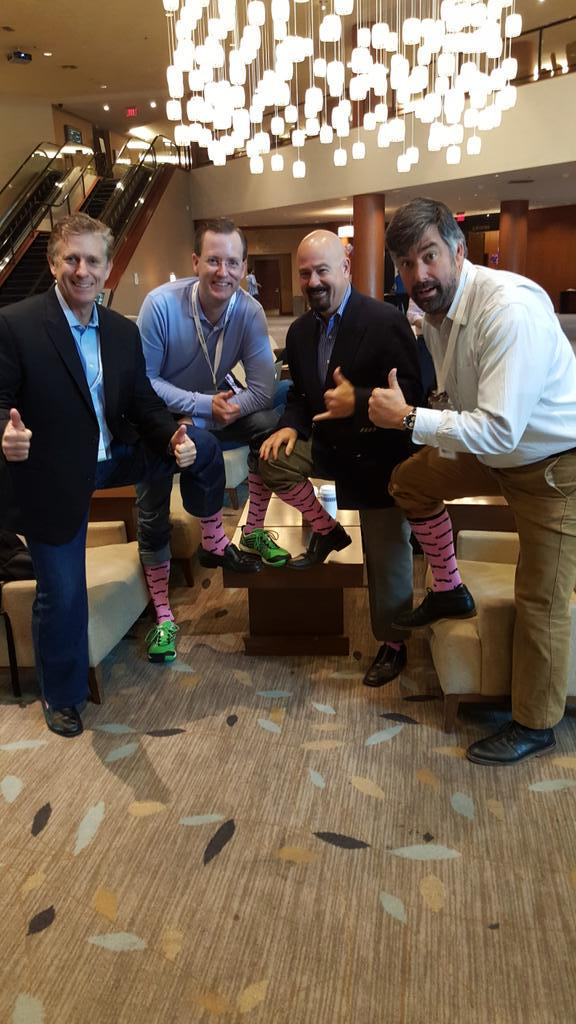 "#SFDotCEO ""@MikeGordonRyan Rocking #pinksocks with @WTBunting @eFuturist @Bill_ReelDx @health2con #health2con 2015 "" http://t.co/8bcpLeqt8G"
