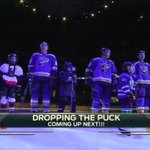 The @StLouisBlues are introduced with youth hockey players. Great way to start. Time to drop the puck. #OurBlues http://t.co/ohCki2NBCJ