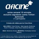 SORTEO! requisito ser fan cuenta @aficineib: 1 entrada sólo por hacer RT. 10 entradas, 1 x ganador. RTs hasta 13/10 http://t.co/2HifqtUGEw