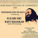 "Transforming Youth for Society"" - An address by @SriSri at Sri Ram College of Commerce, N.Delhi at 2.15 PM today! http://t.co/zUiryj1DkD"
