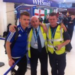 Northern Ireland Captain Steven Davis posing for pics with staff at George Best Belfast City Airport. #GAWA http://t.co/2El0NrksPj