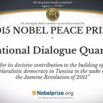 Heartiest congratulations to the Tunisian National Dialogue Quartet for being awarded the Nobel Peace Prize 2015. http://t.co/TI4q6ymz3W