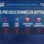 #TropheesUNFP Les 5 pré-sélectionnés pour le Trophée UNFP du meilleur joueur du mois de septembre de L2 sont : http://t.co/sSWjcLISb5