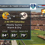 A little warm but really not bad for @LSUfball vs @GamecockFB tomorrow. #LAwx http://t.co/Ia6C2qnw58