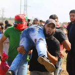 Pics from #Gaza clashes between unarmed Palestinian youth & #Israel army. Many injures. Pics not mine. http://t.co/kmFF8wZ6Pd