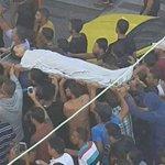 """#صورة من تشييع جثمان الشهيد """" أحمد الهربأوي 19 عاما """" الذي استشهد اليوم بالمواجهات التي اندلعت في شرق مدينة غزة http://t.co/BrNqty6R9D"""