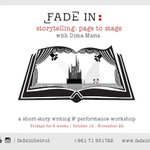 Excited for our upcoming #storytelling #creativewriting workshop w/ @dimamatta write here in #beirut #lebanon   http://t.co/MHzUvWsNo8