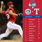 Game 2 of the ALDS begins today at 11:45 am CT with Hamels on the hill. Game Preview: http://t.co/vROD7rCmMf http://t.co/rNcK31PFtW