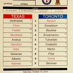 Here is todays Game 2 #ALDS lineup. #RangersRedFever http://t.co/KrNDsRVZRg