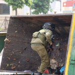 This Ziotrash really knows where he belongs. In a trash container. (Photos were taken today from al-Khalil clashes). http://t.co/xLizODc4HM