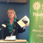 Green leader Elizabeth May in #tbay supporting local candidates, talking natl rail, northern platform #cbctb http://t.co/PHS3a8Y4y6