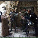 The Israeli army are banning a Palestinian lady to pray in Alaqsa mosque. Is this legal? Is occupation legal? Stop! http://t.co/rbGq7DYFP9