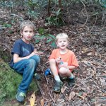Photo of cousins Adrian Ross, 7, left, and Michael Esposito, 5, after rescuers found them in Red River Gorge Fri. http://t.co/MAX6wjkk55