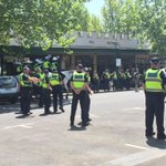 Strong police presence in Bendigo today. Roughly 300 people at the anti-racism rally. http://t.co/Kaos6vyHik