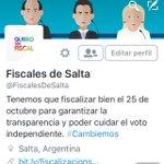 Los invitamos a seguir la cuenta @FiscalesDeSalta. Tenemos que asegurar la transparencia en estas elecciones. #Salta http://t.co/7y14WC1PTh