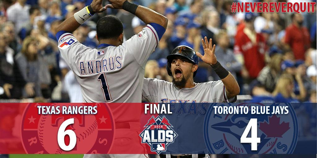 RANGERS WIN & Rangers take game 2 of the ALDS! #NeverEverQuit http://t.co/NtgEKdBfIa