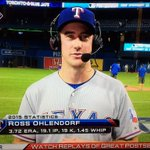 Moments after getting the save as the @Rangers go up 2-0, @PUTigerBaseballs Ross Ohlendorf talks to @MLBNetwork. http://t.co/Oqo50FHmPd