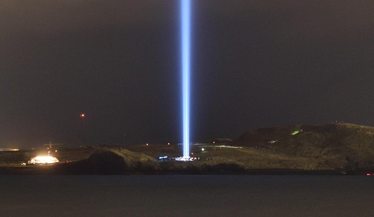 Yoko Ono's memorial to John Lennon: the Imagine Peace Tower in Reykjavik. http://t.co/vF3WkvBYhN