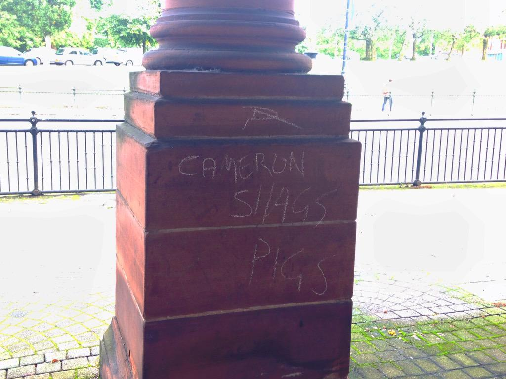Graffiti in the West End of Glasgow. #piggate #neverforget http://t.co/idCESqoaTh