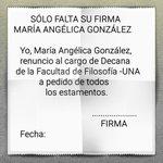 """Docentes de Filosofía-UNA invitan a la Decana a firmar su renuncia con """"Sólo falta su firma María Angélica González"""" http://t.co/vxIp6LPtre"""