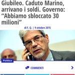 Ora che #PD ha cacciato #Marino, arrivano i soldi per il #Giubileo. Adesso gli amici di #Renzi possono abbuffarsi. http://t.co/Gl68kDsqe9