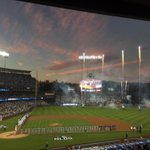 A beautiful start to the NLDS with fireworks at sunset #Dodgers #itfdb #MyDayInLA http://t.co/AHjWCWgkol