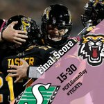 FINAL SCORE: #Ticats 30, #Riders 15.   Mathews: 22/33, 385 yards, 3 TDs Underwood: 5 receptions, 108 yards, 1 TD http://t.co/GynH9Gj5Pf