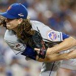 Jacob deGroms final line: 7IP 5H 0ER 1BB 13K, 121 pitches. #NLDS #NYMvsLAD #Mets http://t.co/4hVkRRPSZ8