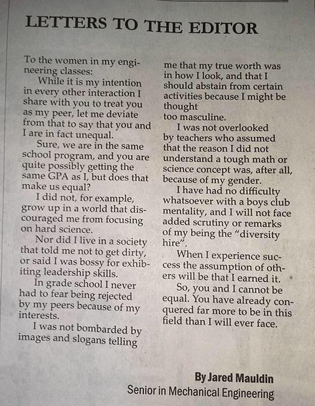 Brilliant. Male engineering student explains why women are not equal to men http://t.co/MViFzJONoa (h/t @Telegraph) http://t.co/GCKuOfsuDA