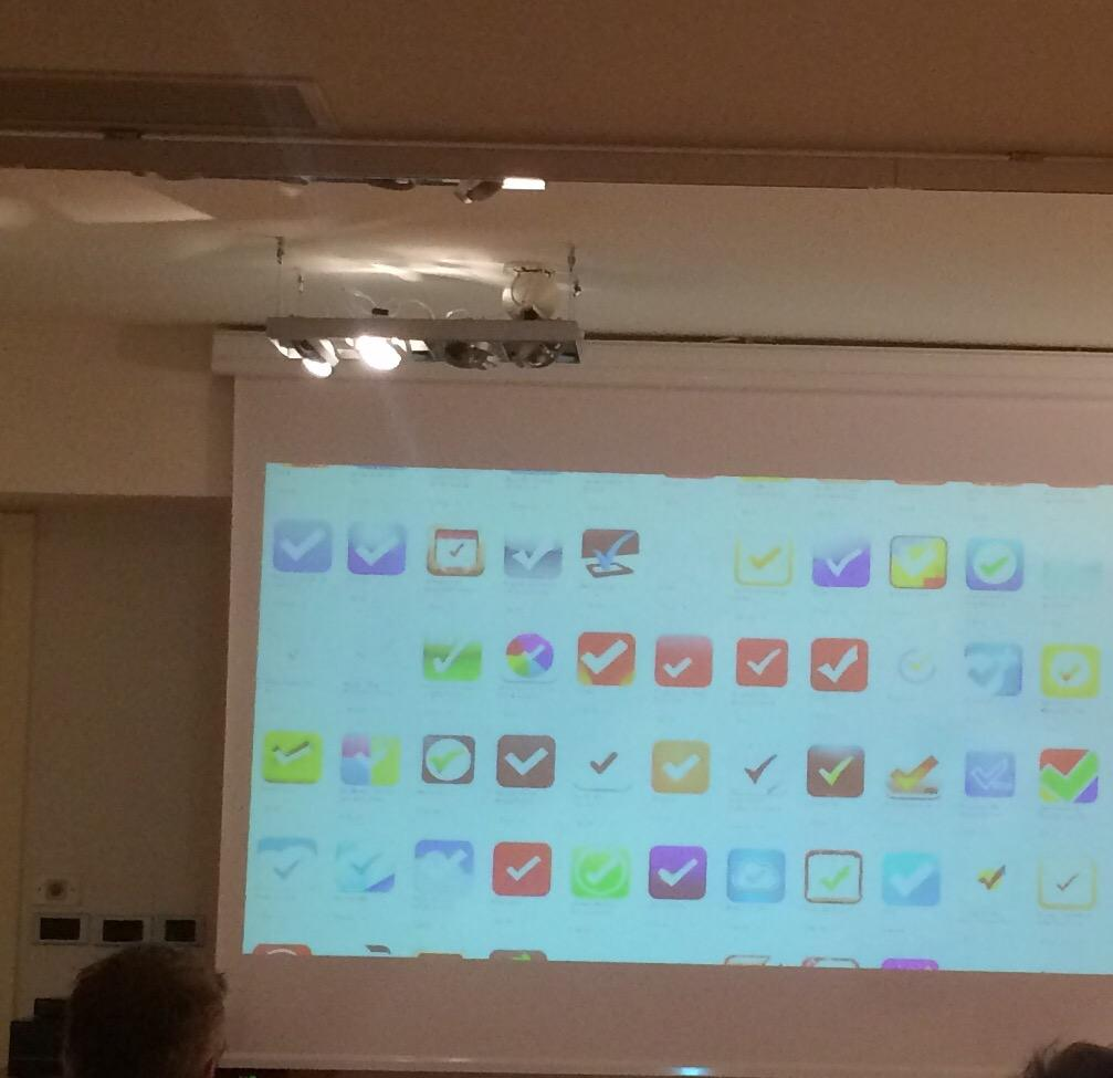 """The world doesn't need another checkmark icon"" @flarup #PragmaConf15 http://t.co/go8U8g10wF"
