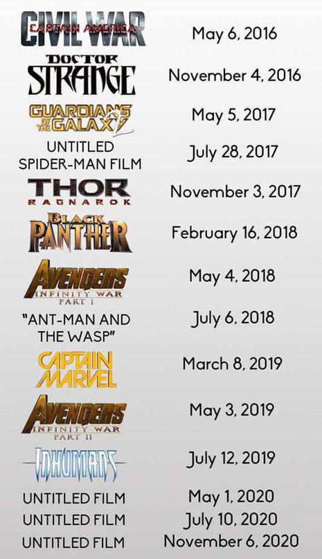 Обновленный график релизов фильмов студии Marvel http://t.co/Y3S3fHvVp7