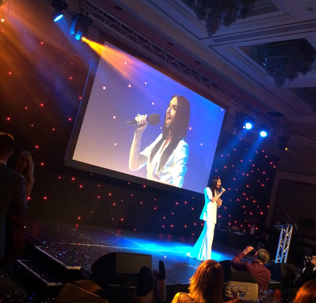 @ConchitaWurst my new favourite singer - what a voice! Wow @TheIconAwards http://t.co/BTh2ycinV3