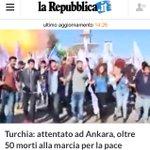 #Ankara Il nostro sgomento e solidarietà al popolo turco che manifestava per la #pace http://t.co/cra9E8Oujc