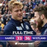 What. A. Game! #SCO reach the #RWC2015 quarter-finals after another thriller, holding off a resilient @SAM #SAMvSCO http://t.co/2IRTd1FliN